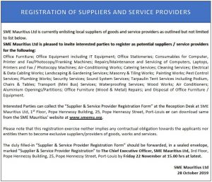 Registration of Suppliers and Service Providers